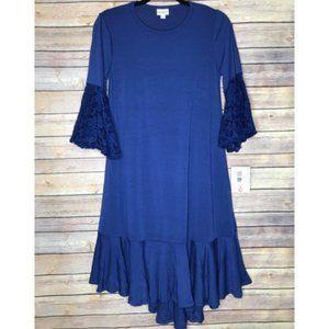 LuLaRoe Blue Maurine Dress Lace flair sleeve M
